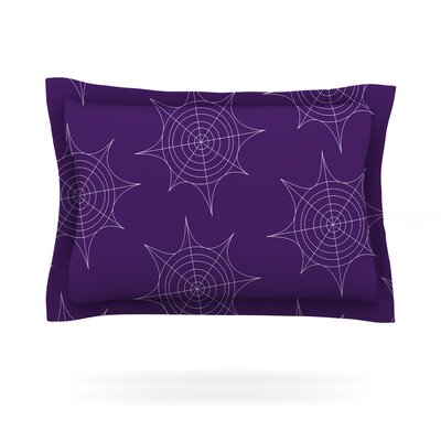 Spiderwebs Woven Pillow Sham Color: Purple, Size: King