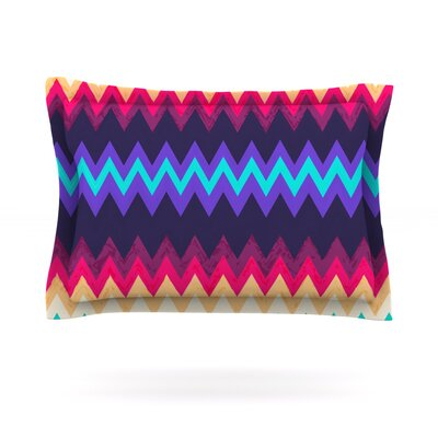 Surf Chevron by Nika Martinez Featherweight Pillow Sham Size: Queen, Fabric: Cotton