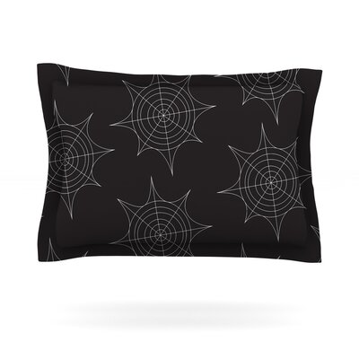 Spiderwebs Woven Pillow Sham Size: Queen, Color: Black