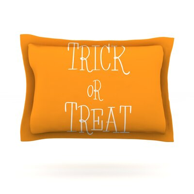 Trick or Treat Featherweight Pillow Sham Size: Queen, Color: White, Fabric: Cotton