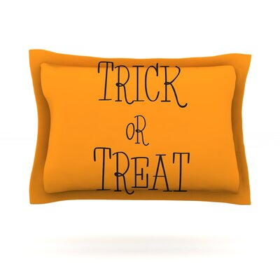 Trick or Treat Featherweight Pillow Sham Size: Queen, Color: Black, Fabric: Cotton