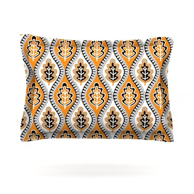Oak Leaf by Jacqueline Milton Featherweight Pillow Sham Size: King, Color: Orange