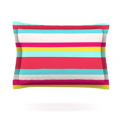 Girly Surf Stripes by Nika Martinez Featherweight Pillow Sham Size: Queen, Fabric: Cotton
