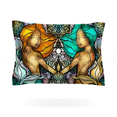 Mermaid Twins by Mandie Manzano Featherweight Pillow Sham Size: Queen, Fabric: Cotton