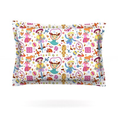 Vintage Playground IIII by Jane Smith Featherweight Pillow Sham Size: Queen, Fabric: Cotton
