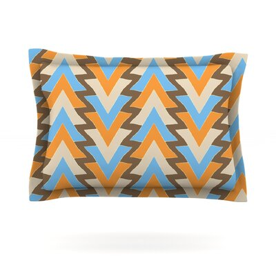 My Triangles in Blue by Julia Grifol Featherweight Pillow Sham Size: Queen