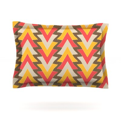 My Triangles in Red by Julia Grifol Featherweight Pillow Sham Size: Queen