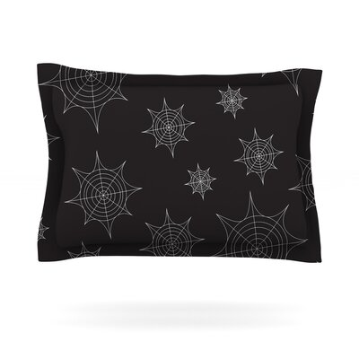 Mini Webs Woven Pillow Sham Size: Queen, Color: Black