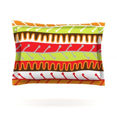 Salsa by Jacqueline Milton Featherweight Pillow Sham Size: Queen, Color: Orange/Yellow, Fabric: Cotton