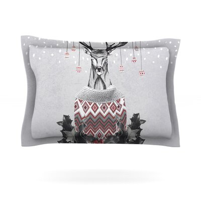 Christmas Deer Snow by Nika Martinez Featherweight Pillow Sham Size: King, Fabric: Cotton