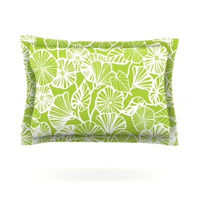 Vine Shadow by Jacqueline Milton Featherweight Pillow Sham Size: King, Color: Lime, Fabric: Cotton