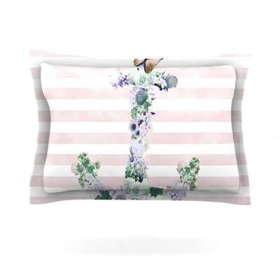 Floral Anchor by Nika Martinez Featherweight Pillow Sham Size: Queen, Fabric: Cotton