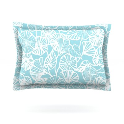 Vine Shadow by Jacqueline Milton Featherweight Pillow Sham Size: Queen, Color: Aqua, Fabric: Cotton
