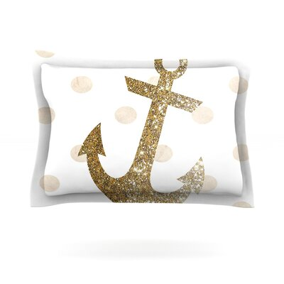 Glitter Anchor by Nika Martinez Featherweight Pillow Sham Size: Queen, Color: Gold, Fabric: Cotton