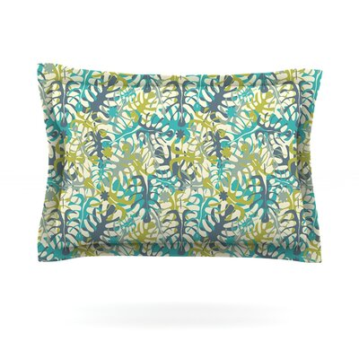 Tropical Leaves by Julia Grifol Featherweight Pillow Sham Size: Queen, Fabric: Cotton
