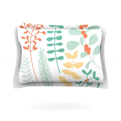 Deck the Hollies Featherweight Pillow Sham Size: King, Color: Orange/Teal, Fabric: Cotton
