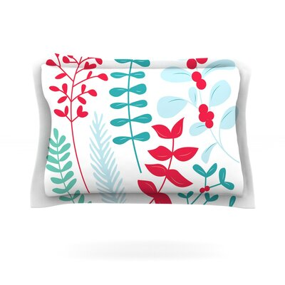 Deck the Hollies Featherweight Pillow Sham Size: Queen, Color: Red/Teal, Fabric: Cotton