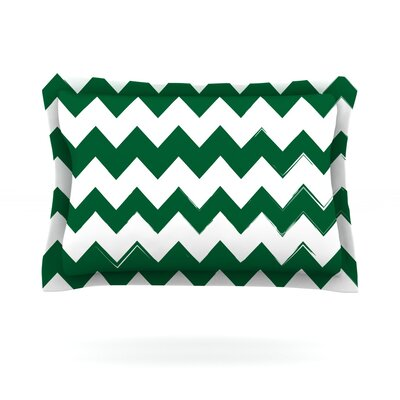 Candy Cane Featherweight Pillow Sham Size: King, Color: Green, Fabric: Cotton