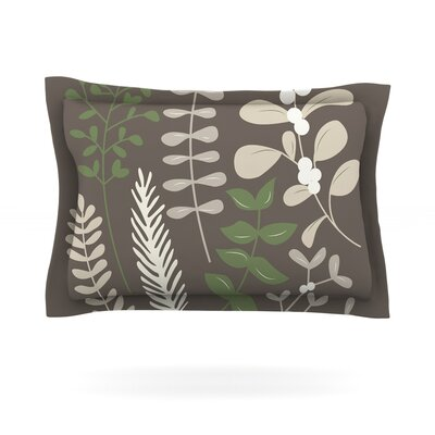 Deck the Hollies Featherweight Pillow Sham Size: Queen, Color: Brown/Green, Fabric: Cotton