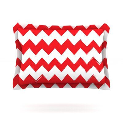 Candy Cane Featherweight Pillow Sham Color: Red, Size: Queen, Fabric: Cotton