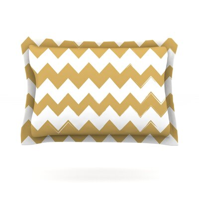 Candy Cane Featherweight Pillow Sham Size: Queen, Color: Gold, Fabric: Cotton