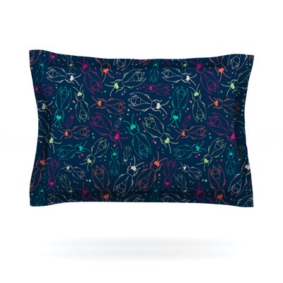 Fireflies Midnight Garden by Laura Escalante Featherweight Pillow Sham Size: King, Fabric: Cotton