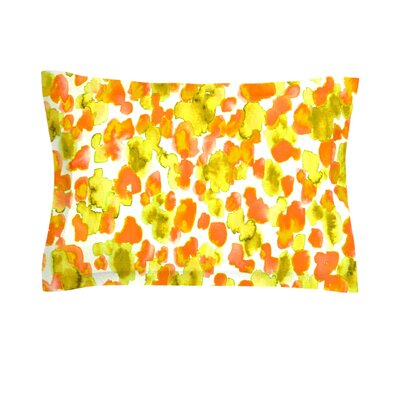 Giraffe Spots by Ebi Emporium Woven Pillow Sham Size: Queen, Color: Orange
