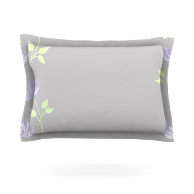 Flower II by Louise Featherweight Pillow Sham Size: Queen, Fabric: Cotton