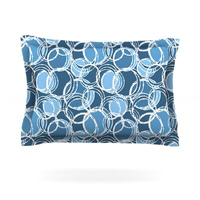 Simple Circles by Julia Grifol Pillow Sham Size: Queen, Color: Blue, Fabric: Woven Polyester