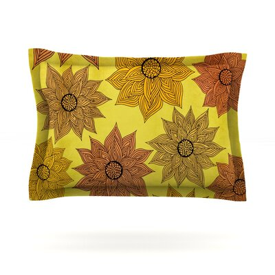 Its Raining Flowers by Pom Graphic Design Featherweight Pillow Sham Size: Queen, Fabric: Cotton