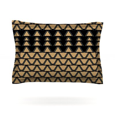 Deco Angles Gold Black by Nina May Featherweight Pillow Sham Size: Queen, Fabric: Cotton