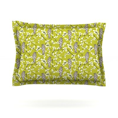 Blossom Bird by Julie Hamilton Featherweight Pillow Sham Size: Queen, Fabric: Cotton