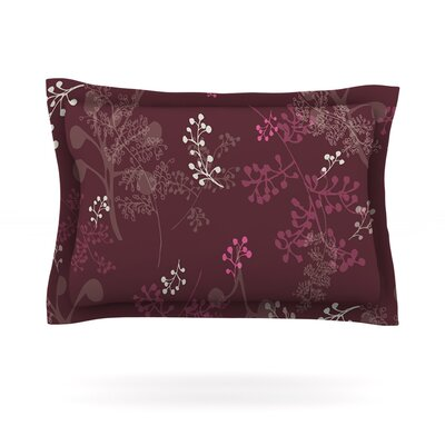 Ferns Vines Bordeaux by Laurie Baars Featherweight Pillow Sham Size: Queen