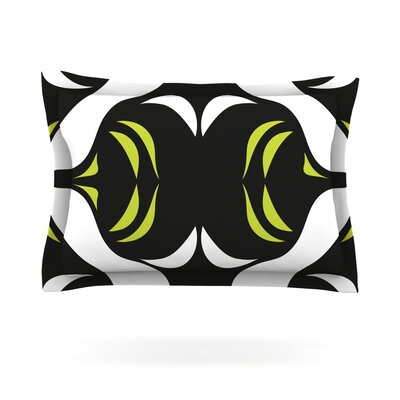 Green White Jaws by Miranda Mol Woven Pillow Sham Size: Queen