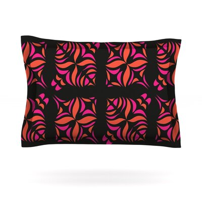 Orange on Black Tile by Miranda Mol Featherweight Pillow Sham Size: Queen, Fabric: Cotton