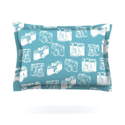 Camera Pattern Featherweight Pillow Sham Size: King, Fabric: Cotton