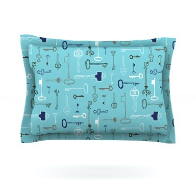 Keys by Laurie Baars Woven Pillow Sham Size: Queen, Color: Blue