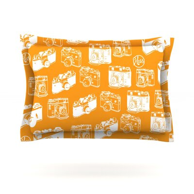 Camera Pattern Featherweight Pillow Sham Size: King, Color: Orange, Fabric: Cotton