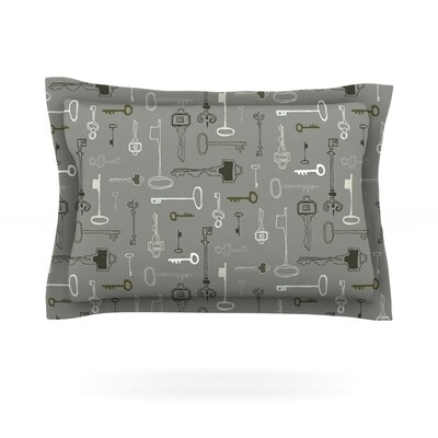 Keys by Laurie Baars Woven Pillow Sham Size: King, Color: Gray