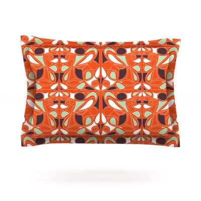 Orange Swirl Kiss by Miranda Mol Featherweight Pillow Sham Size: Queen, Fabric: Cotton