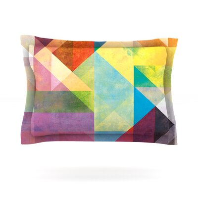 Color Blocking II by Mareike Boehmer Featherweight Pillow Sham Size: Queen, Fabric: Cotton