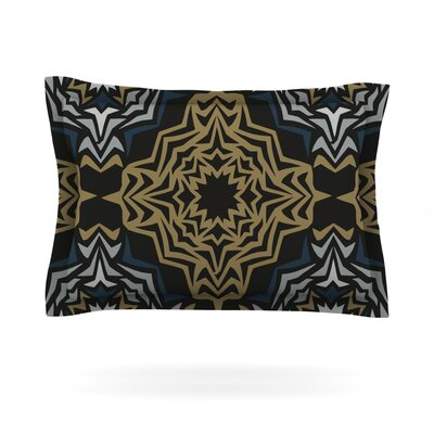 Golden Fractals by Miranda Mol Featherweight Pillow Sham Size: King, Fabric: Cotton