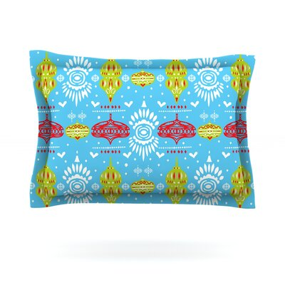 Deco Row Blue by Miranda Mol Featherweight Pillow Sham Size: Queen, Fabric: Cotton