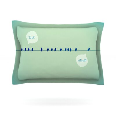 Tweeting by Robin Dickinson Featherweight Pillow Sham Size: Queen, Fabric: Cotton