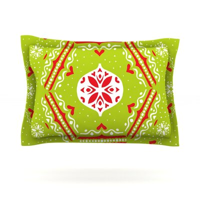 Snowjoy Green by Miranda Mol Featherweight Pillow Sham Size: King, Color: Green/Red, Fabric: Cotton