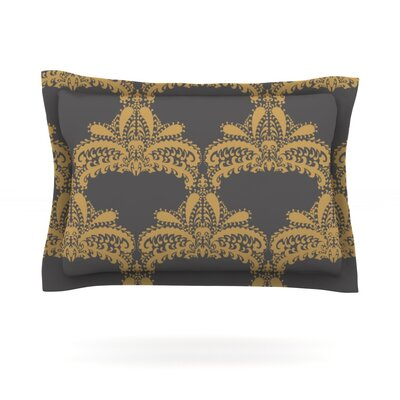 Decorative Motif by Nandita Singh Featherweight Pillow Sham Size: King, Color: Gold, Fabric: Cotton