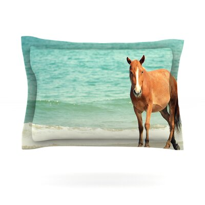 Wild Mustang of Carova by Robin Dickinson Featherweight Pillow Sham Size: King, Fabric: Cotton