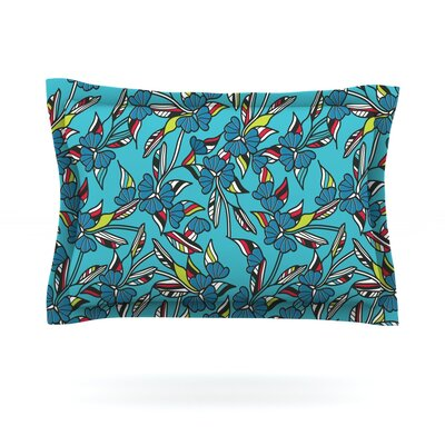 Paper Leaf by Michelle Drew Featherweight Pillow Sham Size: Queen, Color: Blue, Fabric: Cotton