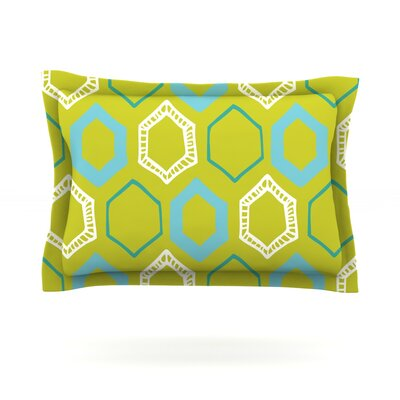 Hexy by Laurie Baars Woven Pillow Sham Size: Queen, Color: Green/Blue