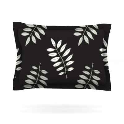 Pagoda Leaf by Laurie Baars Featherweight Pillow Sham Size: King, Color: Black, Fabric: Cotton